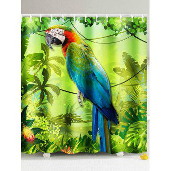 3D Parrot and Palm Printed Shower Curtain