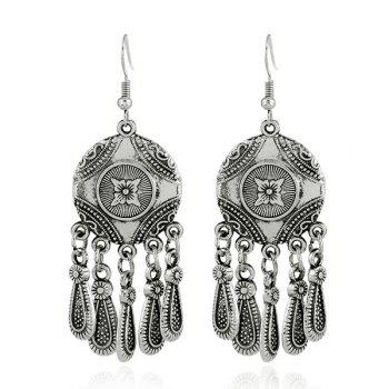 Alloy Engraved Flower Teardrop Circle Earrings