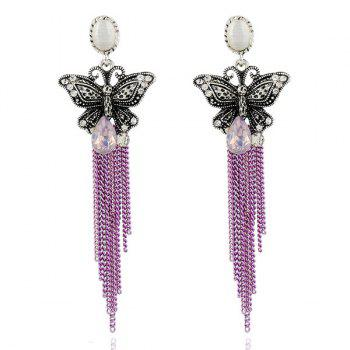 Rhinestone Butterfly Fringed Chain Teardrop Earrings