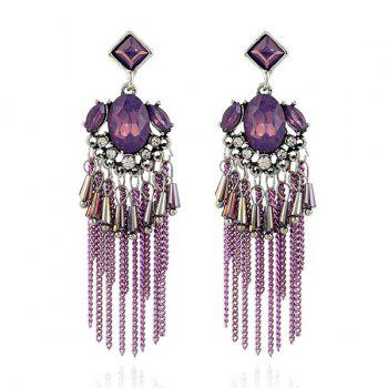 Artificial Gem Geometric Fringed Chain Earrings