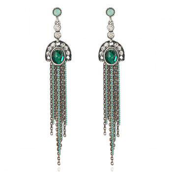 Vintage Faux Emerald Fringed Chain Earrings