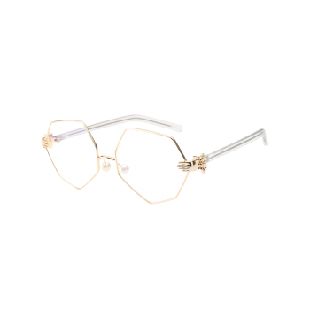 Buy Irregular Geometric Faux Pearl Nose Pad Sunglasses WHITE