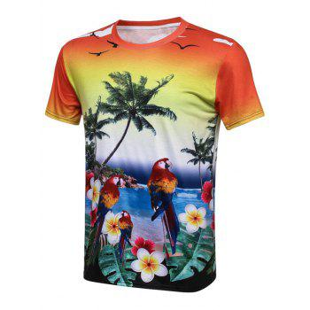 Bird Coconut Tree 3D Print Hawaiian T-Shirt