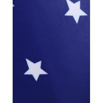 Plus Size Multi-Way Patriotic Plunge Star Flag Cheeky One Piece Swimsuit - BLUE 5XL