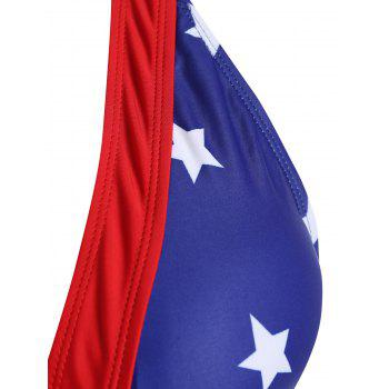 Plus Size Multi-Way Patriotic Plunge Star Flag Cheeky One Piece Swimsuit - BLUE 3XL