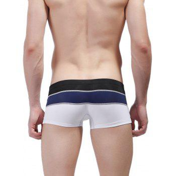 Color Block Panel Metal Loop Swimming Trunks - WHITE L