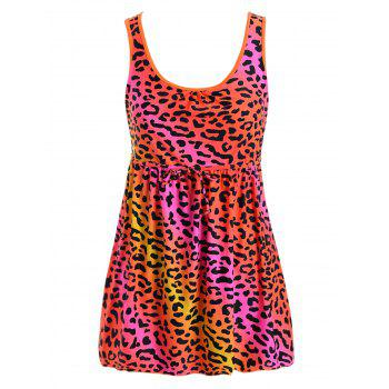 Plus Size Leopard Padded Skirted One Piece Swimsuit - RED 5XL
