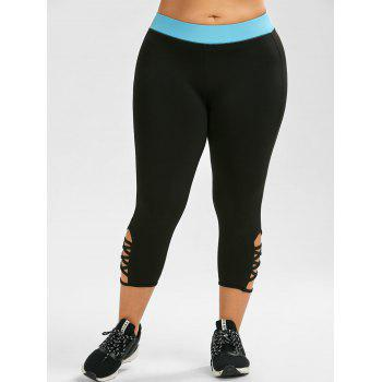 Plus Size Criss Cross Capri Leggings sportif - Noir 4XL