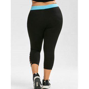 Plus Size Criss Cross Capri Leggings sportif - Noir 3XL