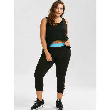 Plus Size Criss Cross Capri Sporty Leggings - BLACK BLACK