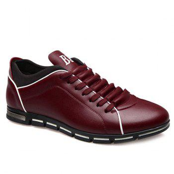 Trendy Splicing and PU Leather Design Men's Casual Shoes - WINE RED WINE RED