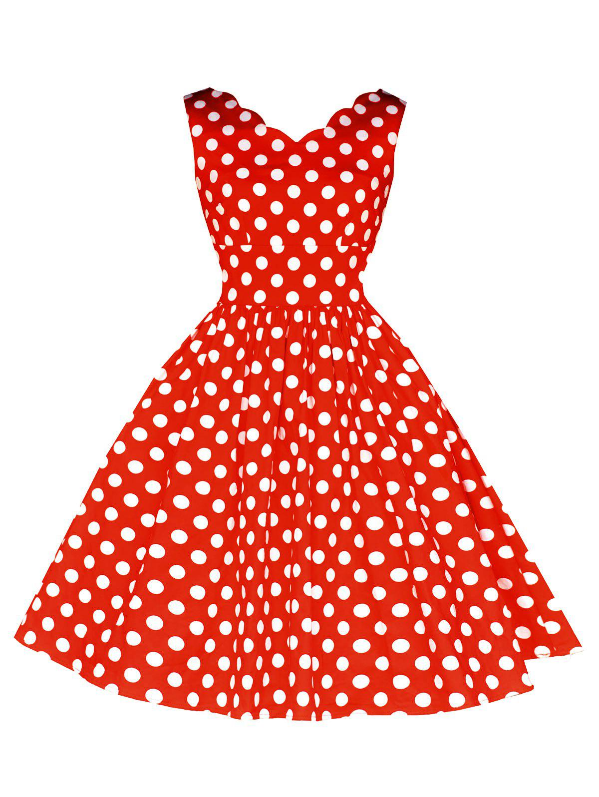 Vintage Polka Dot Flared Dress - RED 2XL
