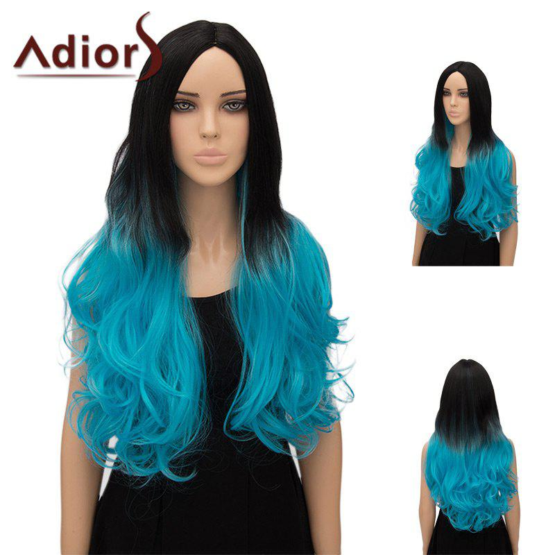 Adiors Center Part Wavy Ultra Long Ombre Cosplay Synthetic Wig - GRADUAL BLUE