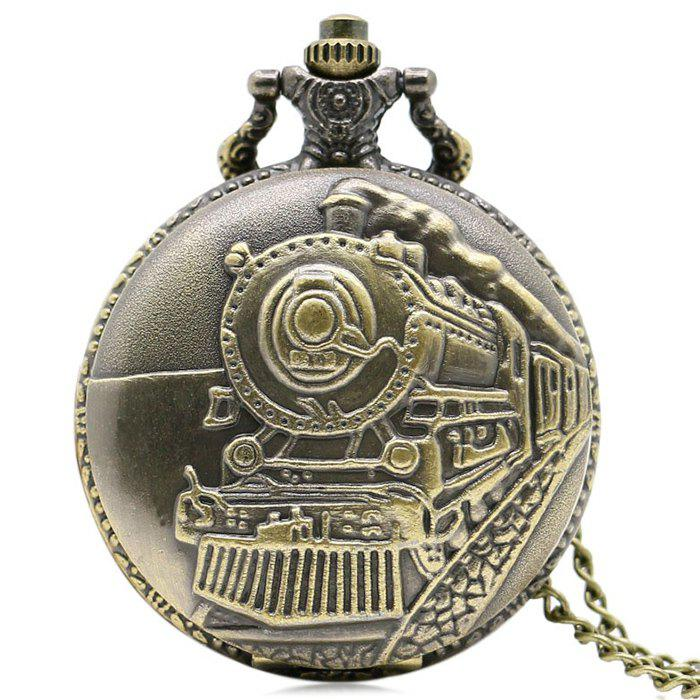 Steam Train Vintage Pocket Watch - GOLDEN
