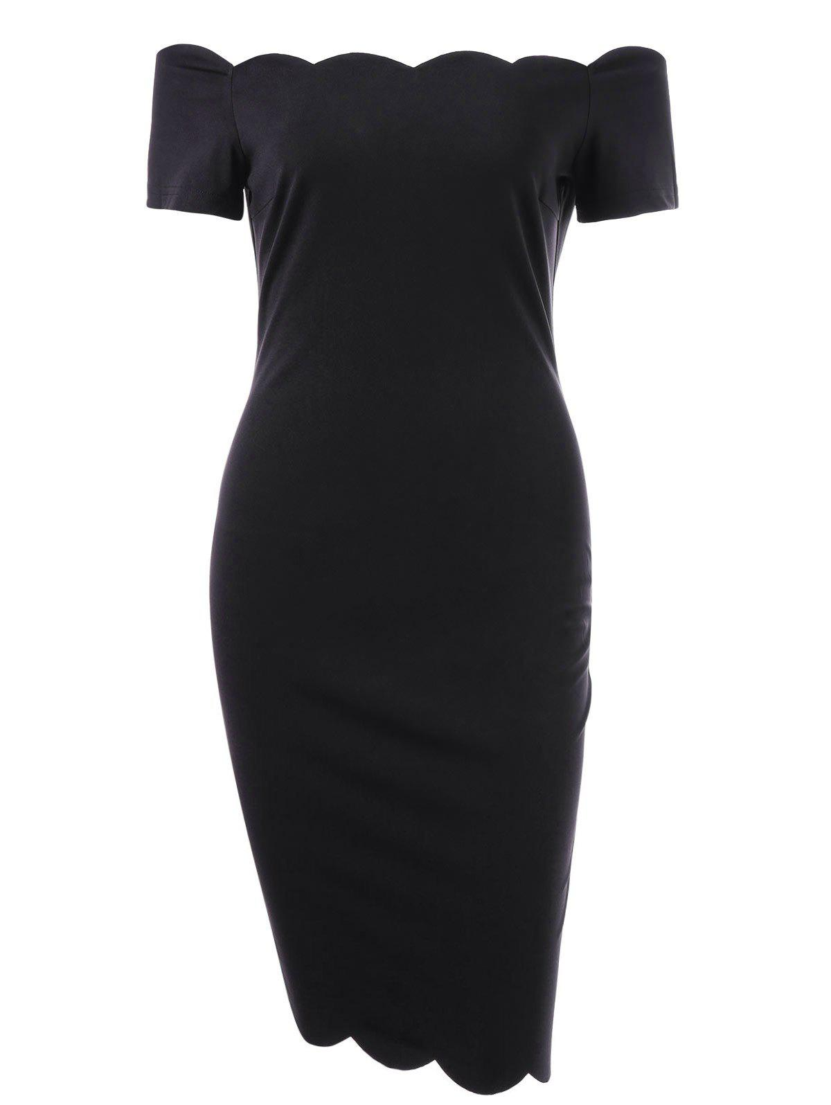 Off The Shoulder Scalloped Sheath Dress - BLACK 2XL