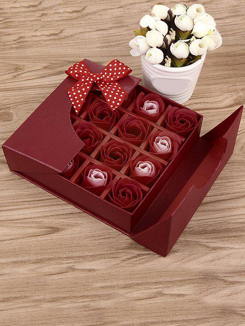 1 Box 16 Grids Artificial Soap Rose Mother's Day Gift - BRIGHT RED
