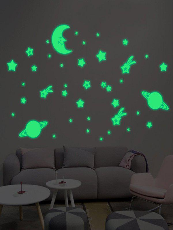 Cartoon Moon Earth Star Waterproof Noctilucent Wall Stickers For Nursery - LUMINOUS GREEN