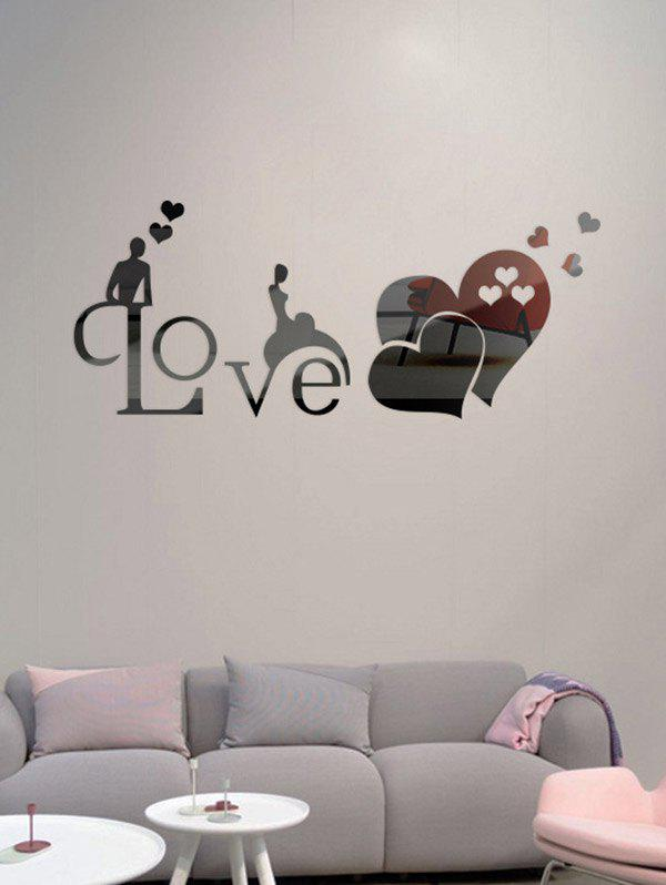 Love heart bedroom decoration 3d mirror wall sticker for Bedroom 3d wall stickers