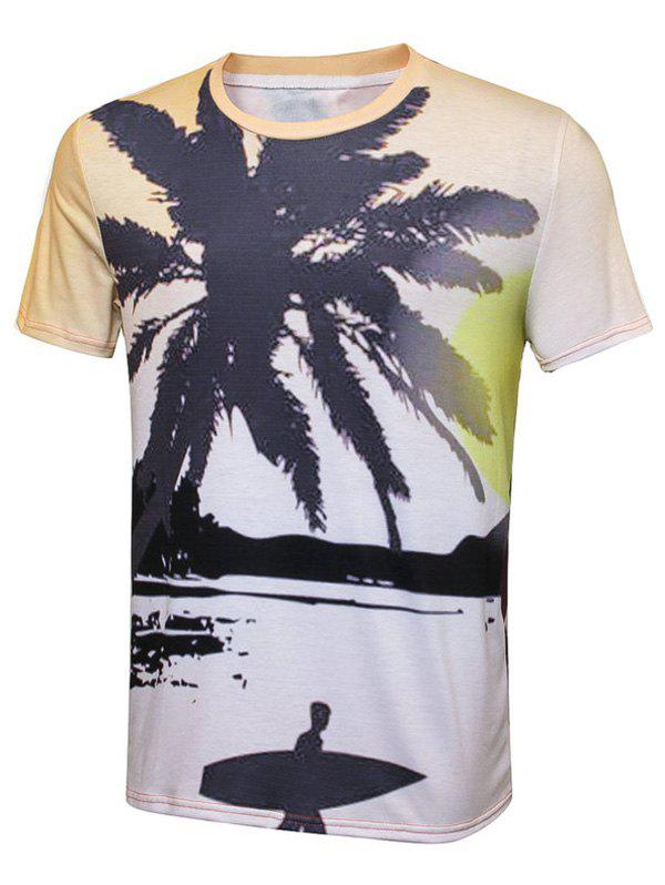 Coconut Tree Tropical Print Crew Neck T-Shirt - COLORMIX 2XL