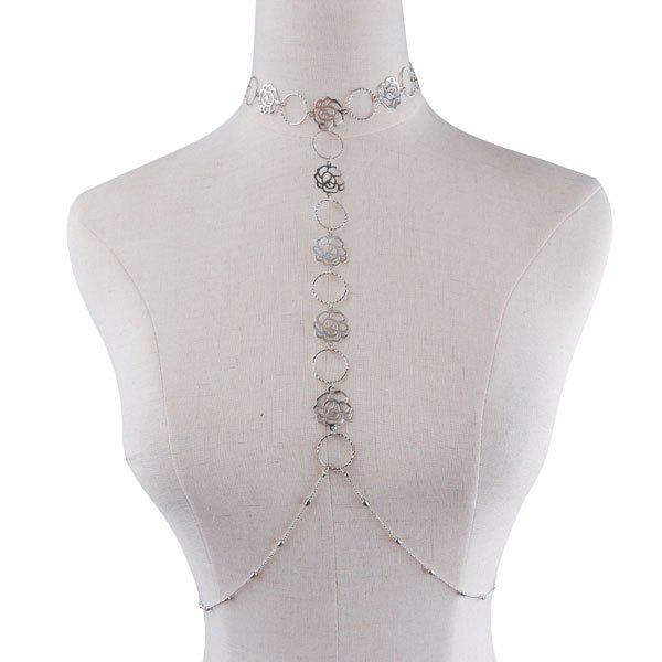 Rose Floral Body Chain - SILVER