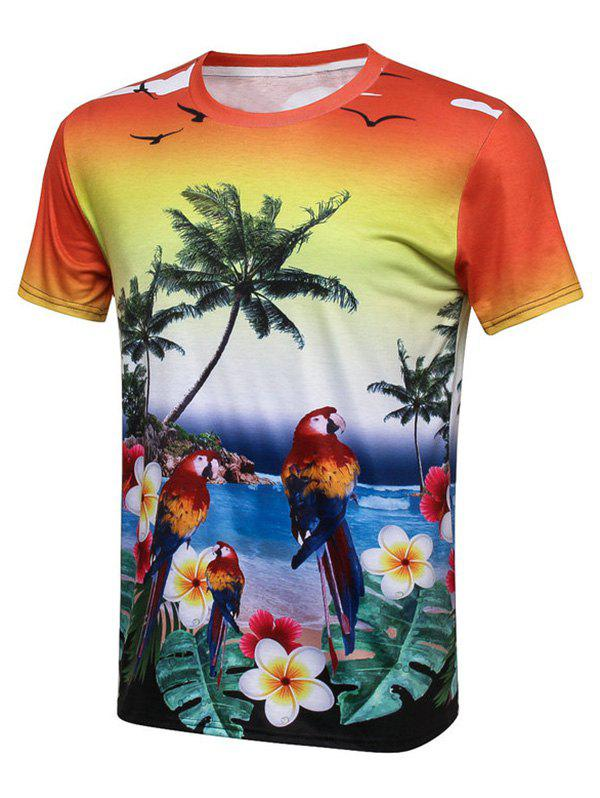 Bird Coconut Tree 3D Print Hawaiian T-Shirt - COLORMIX 2XL