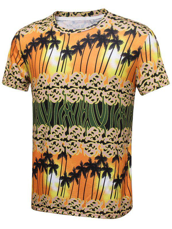 Coconut Tree Sunset Printed Short Sleeve T-Shirt - COLORMIX 3XL