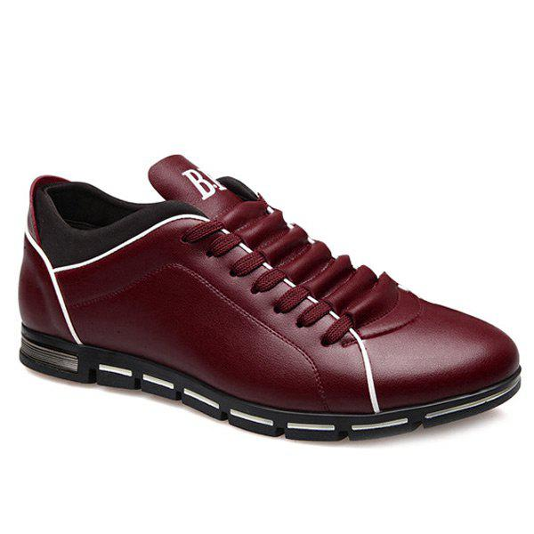 Trendy Splicing and PU Leather Design Men's Casual Shoes - WINE RED 43