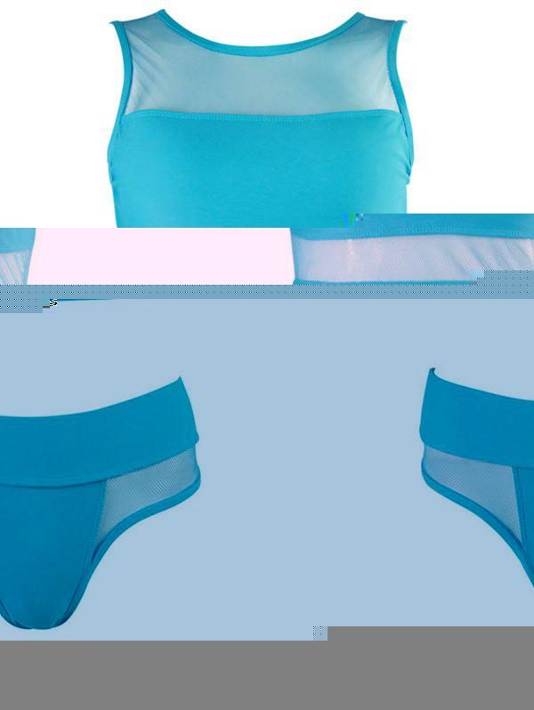 Mesh Panel Tankini - LIGHT BLUE L