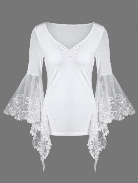 fd88f2ec965 41% OFF] 2019 V Neck Bell Sleeve Sheer Lace Panel T-Shirt In WHITE ...