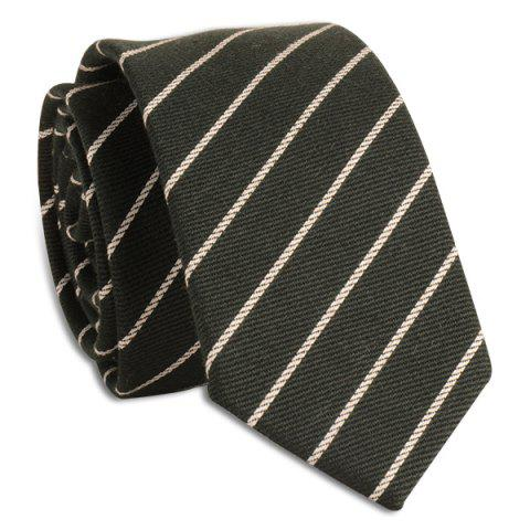 Pinstripe Diagonal Lines Tie - BLACKISH GREEN