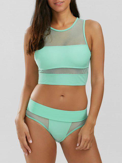 Mesh Panel Tankini - LIGHT GREEN M