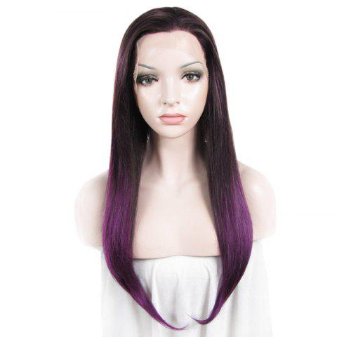 Charming Mixed Color Vogue Tail Adduction Straight Long Synthetic Lace Front Wig For Women - DARK ROOTS VOILET 4/3700