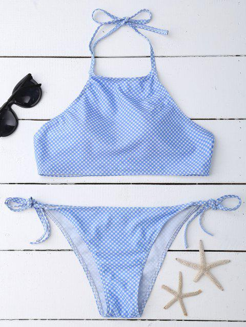 Halter Plaid Tied Bikini - LIGHT BLUE L
