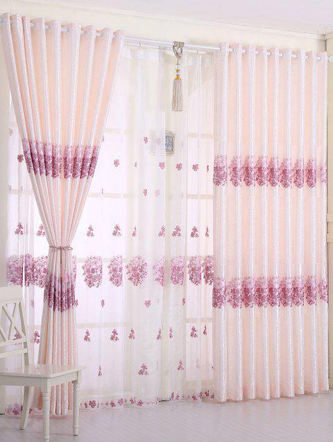 1PCS Hydrangea Print Blackout Curtain Window Screen ( Without Tulle ) - PINK W54INCH*L108INCH