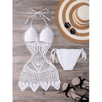 Alluring Halter Solid Color Hollow Out One-Piece Knitted Women's Swimwear - WHITE M