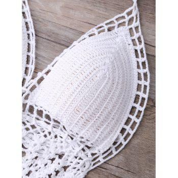 Alluring Halter Solid Color Hollow Out One-Piece Knitted Women's Swimwear - WHITE WHITE