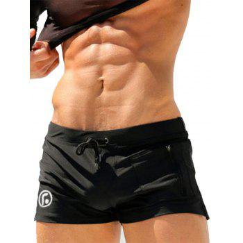 Lace Up Zip Up Pocket Stretchy Swimming Trunks