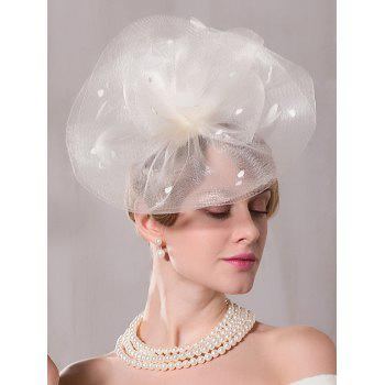 Oversize Mesh Floral Feather Cocktail Hat