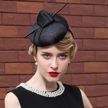Satin Knot Feather Branch Pillbox Hat