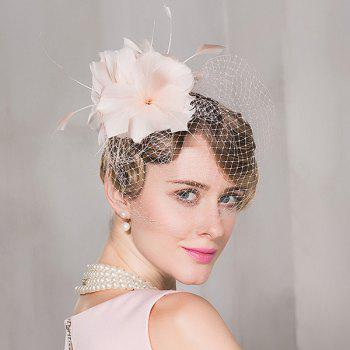 Flowers Feather Veil Mesh Banquet Cocktail Hat