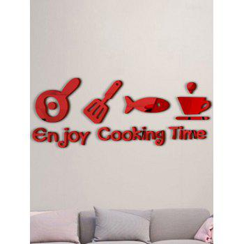 Enjoy Cooking Time Metope Adornment Kitchen Mirror Logo Wall Sticker