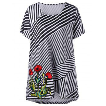 Plus Size Flower Embroidery Striped T-Shirt