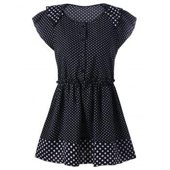 Plus Size Cap Sleeve Polka Dot T-Shirt