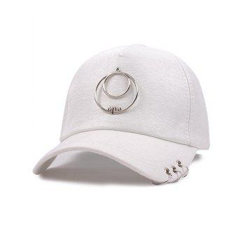 Metallic Letters Circle Ring Embellished Baseball Hat
