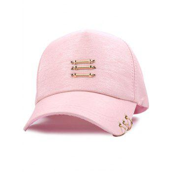 Metallic Stick Circle Ring Embellished Baseball Cap