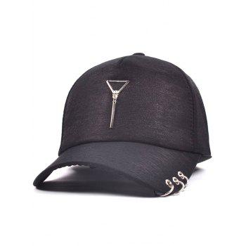 Metallic Triangle Pendant Circle Embellished Baseball Hat