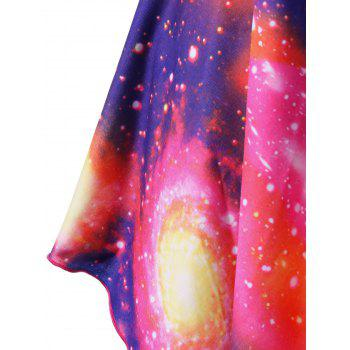 Plus Size Sweetheart Neck Asymmetrical Galaxy T-Shirt - COLORMIX 2XL