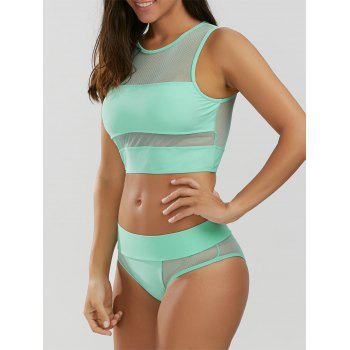 Mesh Panel Tankini - LIGHT GREEN S