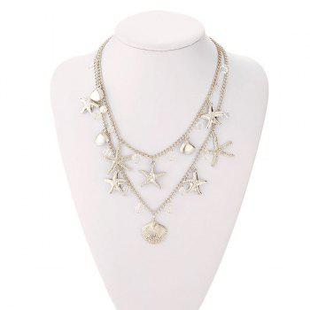 Rhinestoned Seashell Starfish Layered Necklace