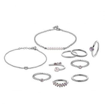 Faux Pearl Circle Bracelets and Rings